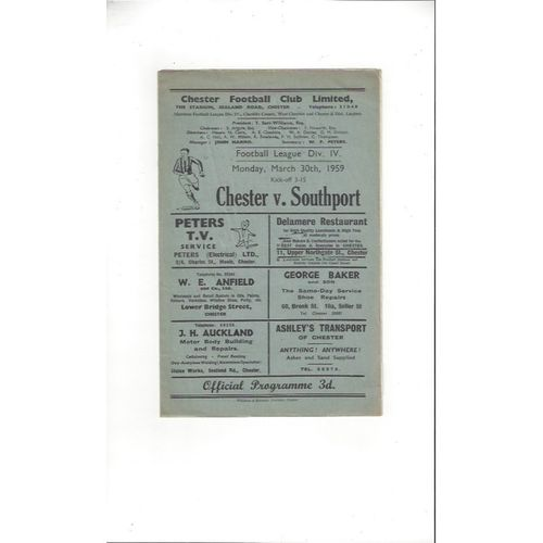1958/59 Chester v Southport Football Programme