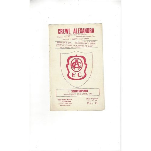 1957/58 Crewe Alexandra v Southport Football Programme