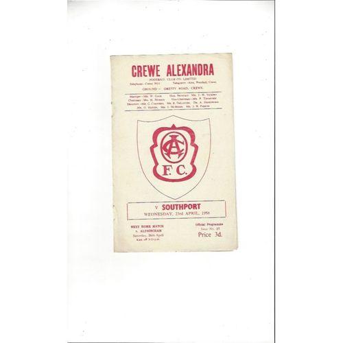 1957/58 Crewe Alexandra v Southport Football Programme