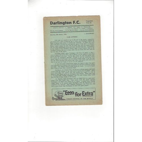 1957/58 Darlington v Southport Football Programme 8th March