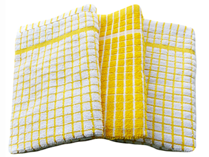 3 Pack - Eclipse Mono Tea Towels (Yellow/White)   Marie Made It