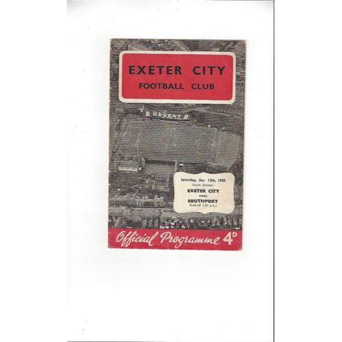 1958/59 Exeter City v Southport Football Programme