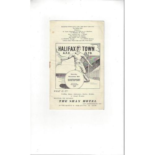 1957/58 Halifax Town v Southport Football Programme