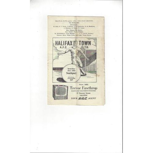 1956/57 Halifax Town v Southport Football Programme