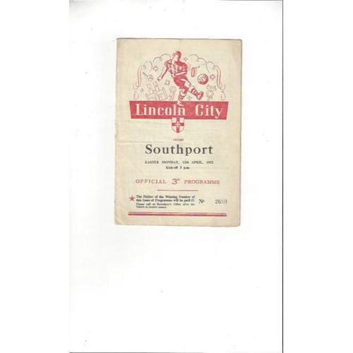 1951/52 Lincoln City v Southport Football Programme
