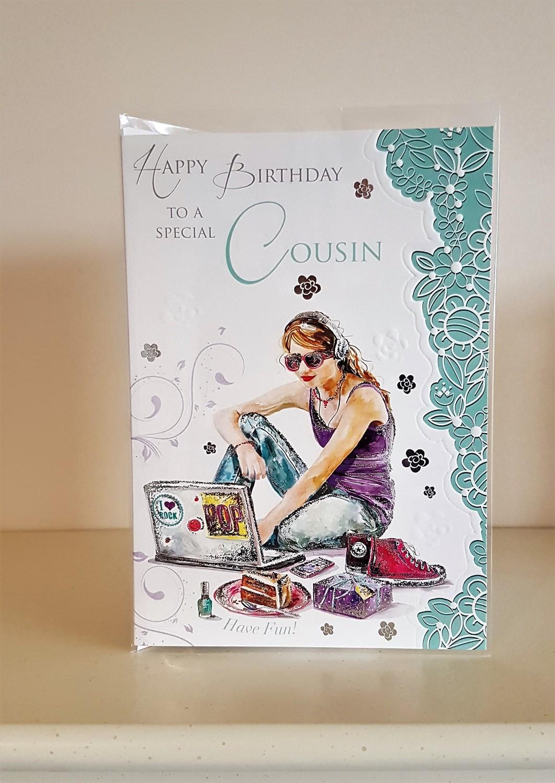 Cousin Girl Laptop Green Birthday Card