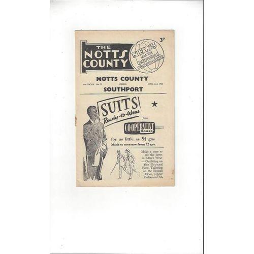 1959/60 Notts County v Southport Football Programme