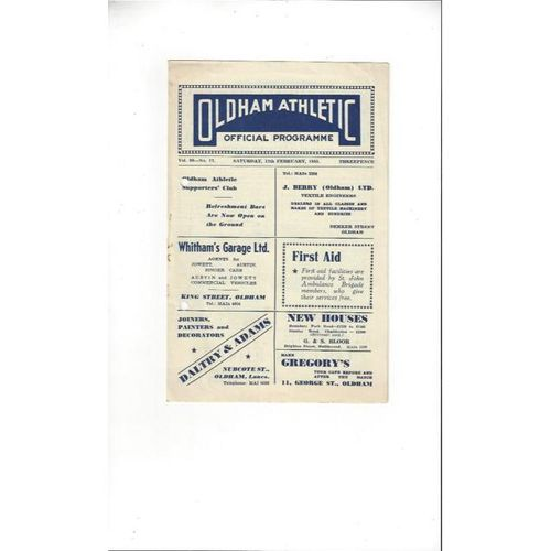 1954/55 Oldham Athletic v Southport Football Programme