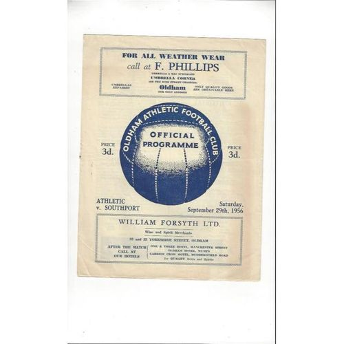 1956/57 Oldham Athletic v Southport Football Programme