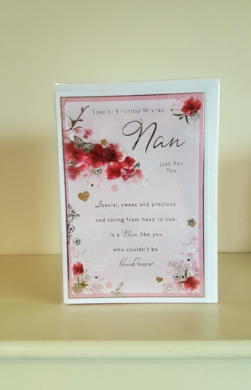 Nan Flowers Butterflies Pink Birthday Card