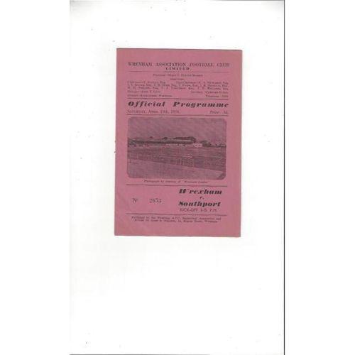 1957/58 Wrexham v Southport Football Programme