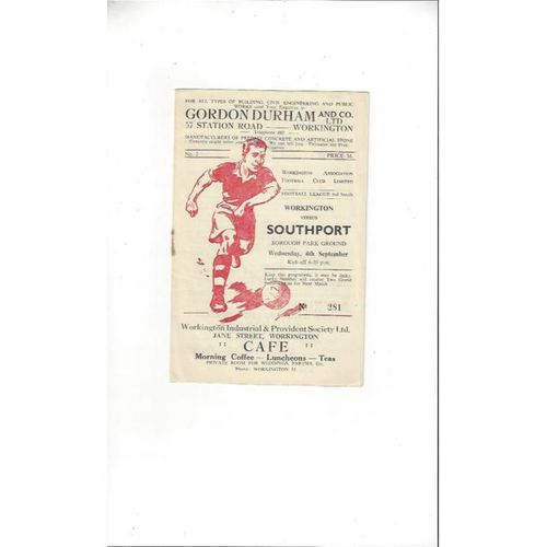 1957/58 Workington v Southport Football Programme