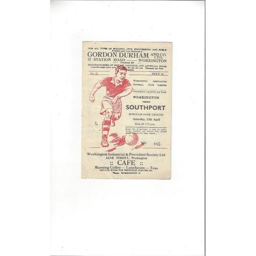 1956/57 Workington v Southport Football Programme