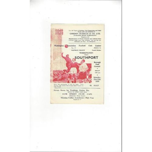 1958/59 Workington v Southport Football Programme
