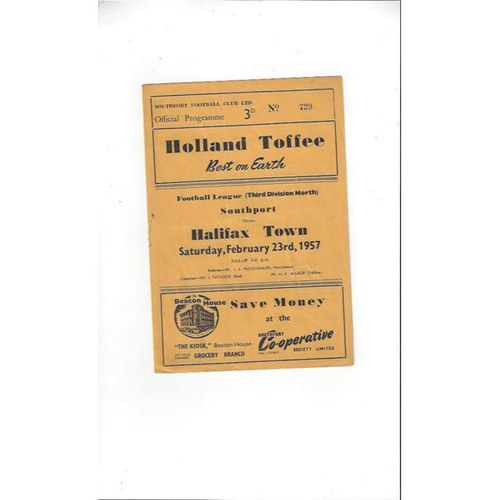 1956/57 Southport v Halifax Town Football Programme