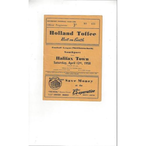 1957/58 Southport v Halifax Town Football Programme