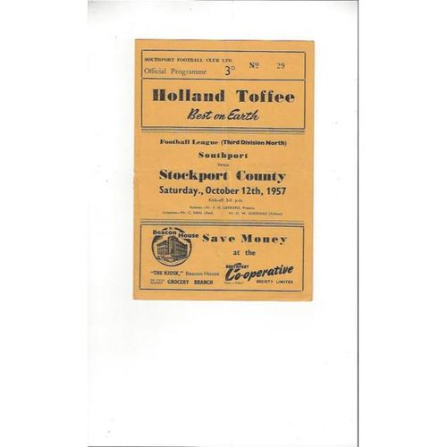 Southport Home Football Programmes