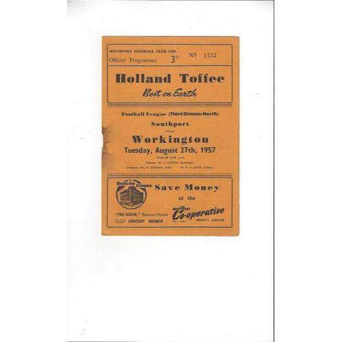 1957/58 Southport v Workington Football Programme