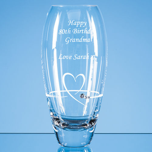 Diamante Petit Vase with Heart Design in an attractive gift box (18cm)