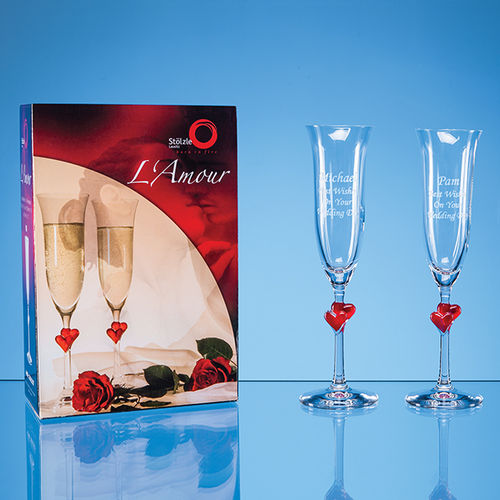 L'Amour Red Heart Champagne Flutes (x2) in an attractive gift box