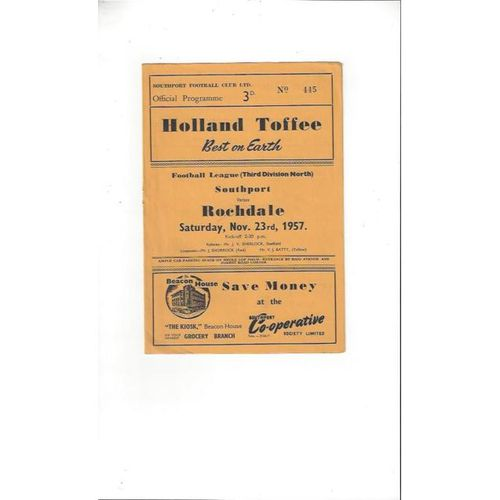 1957/58 Southport v Rochdale Football Programme