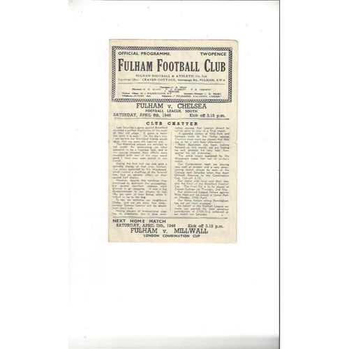 1945/46 Fulham v Chelsea League South Football Programme