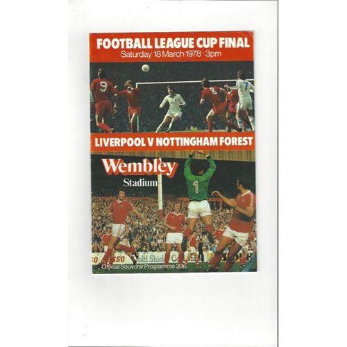 Liverpool v Nottingham Forest League Cup Final 1978