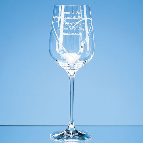 'Just For You' Diamante Wine Glass with Heart Shaped Cutting in an attractive Gift Box