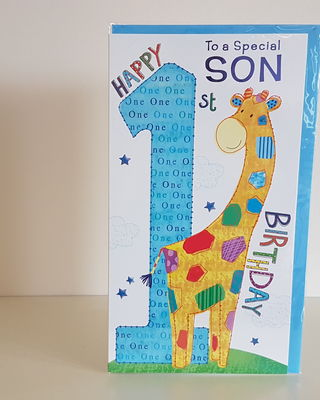 Son 1st Birthday Giraffe Card