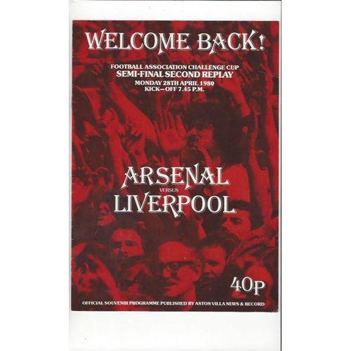 Arsenal v Liverpool FA Cup Semi Final 2nd Replay Football Programme 1980 @ Villa
