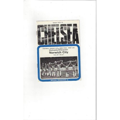 Chelsea v Norwich City League Cup Semi Final Football Programme 1972/73