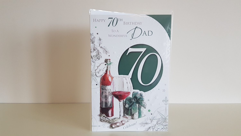Dad 70th Glass Present Birthday Card