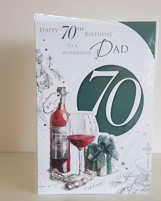 Dad 70th Glass & Present Birthday Card