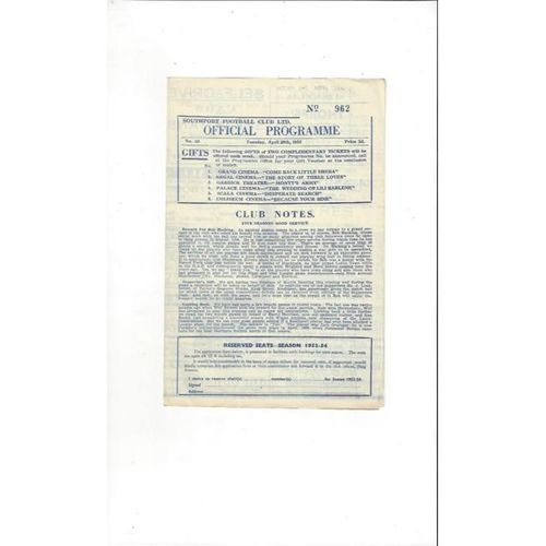 1952/53 Southport v Selected X1 Friendly Football Programme
