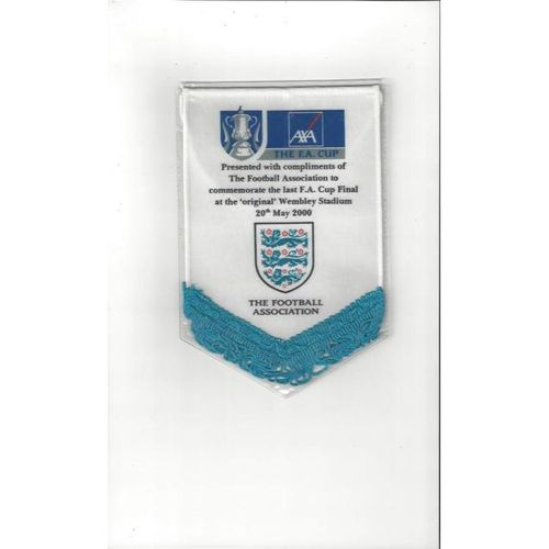 Chelsea v Aston Villa 2000 FA Cup Final Football Pennant. The Last @ Wembley