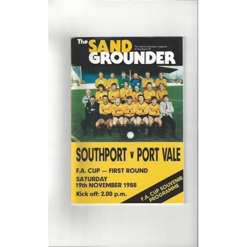 1988/89 Southport v Port Vale FA Cup Football Programme