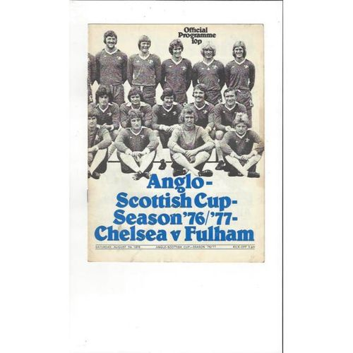Chelsea v Fulham Anglo Scottish Cup 1976/77