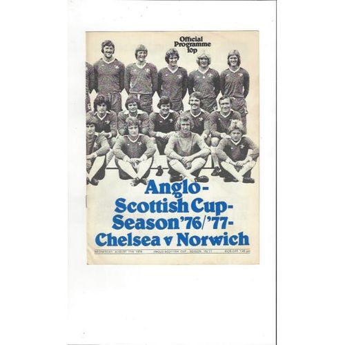 Chelsea v Norwich City Anglo Scottish Cup 1976/77