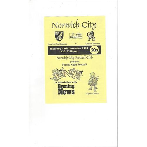 Norwich City v Chelsea Football Combination 1997/98