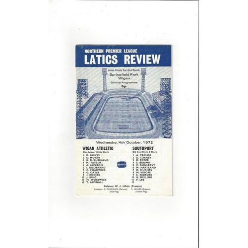 1972/73 Wigan Athletic v Southport Lancashire County Cup Football Programme