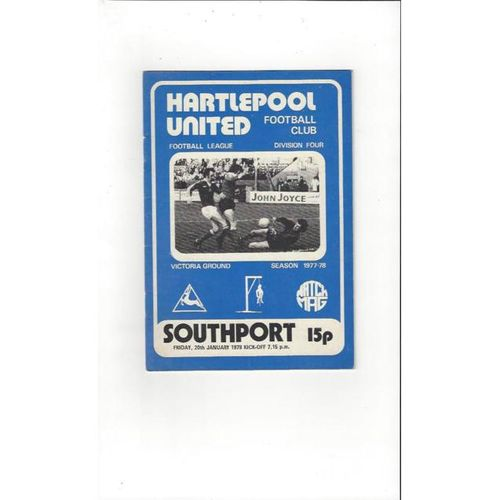 1977/78 Hartlepool United v Southport Football Programme