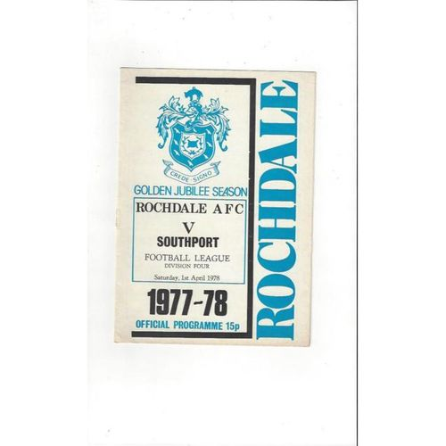 1977/78 Rochdale v Southport Football Programme