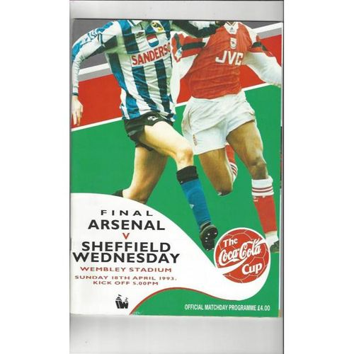 1993 Arsenal v Sheffield Wednesday League Cup Final Football Programme