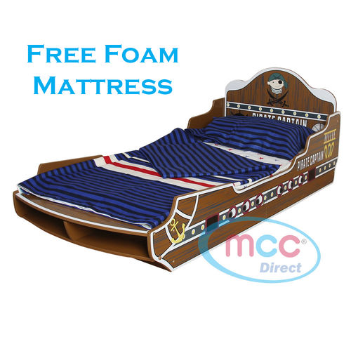 """Pirate/Sea Toddler Bed with 3"""" Mattress"""