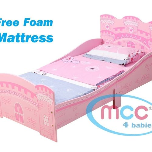 """Girls Pink Castle Princess Toddler Bed With 3"""" Mattress"""