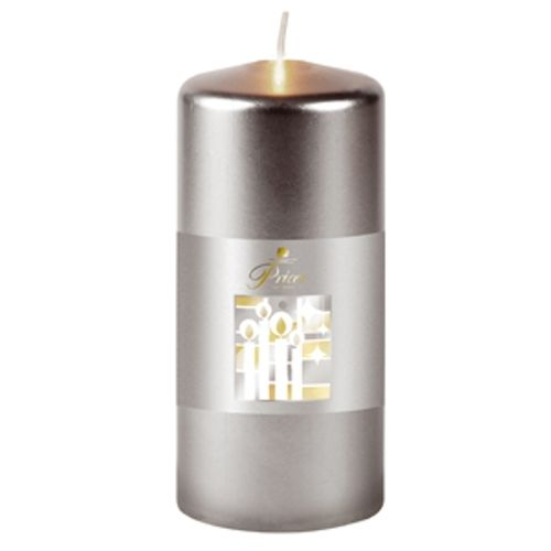 Prices Silver Large Metallic Pillar Candle