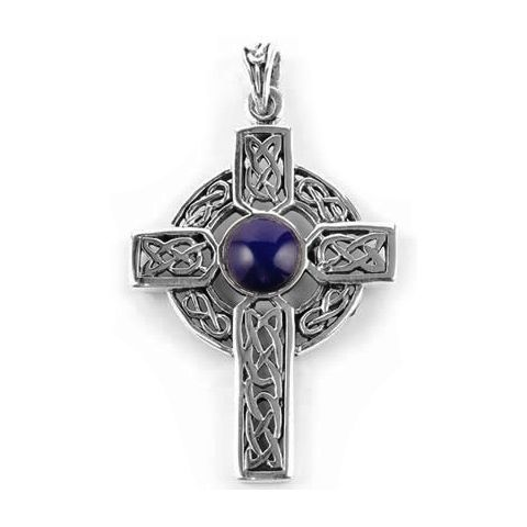 Ornate Celtic Cross & Lapis Lazuli Pendant