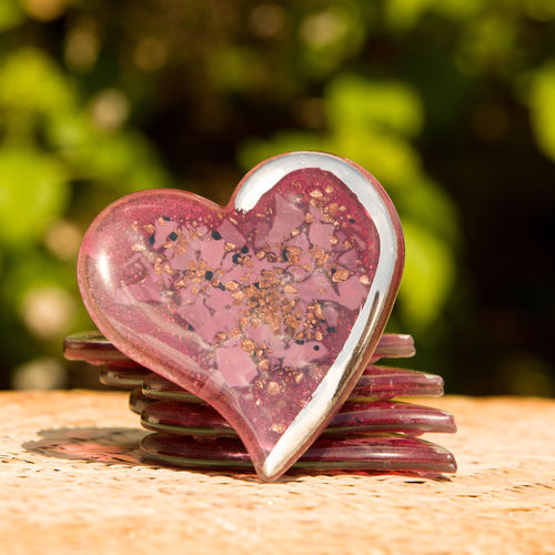 Purple & Platinum Heart Coaster