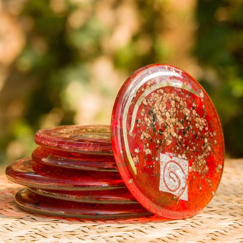 Red / Platinum Coaster (Round)
