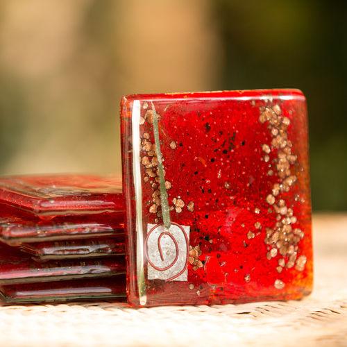 Red & Platinum Square Coasters